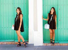 Brandy Melville Black Short Dress, Shoedazzle Wide Straps Heels, Zara Light Blue Structured Bag