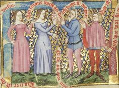 "14th century (ca. 1380) Germany - Trier  New York, the Morgan Library & Museum  MS G.54: Der wälsche Gast (The Italian Visitor) by Thomasin von Zerclaere (illuminated by the Kuno von Falkenstein workshop)  fol. 6r: women encounter Irrationality (older man) and a Seducer (the younger man, in the pink garment which is described as ""paltock"") (=obviously a scenario ripe for disaster)  The women wear wonderful examples of kirtle, sometimes called cotehardie (although the term refers more"