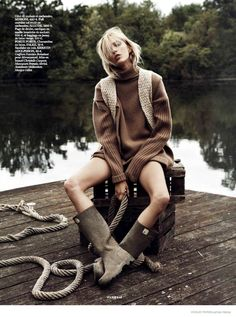 Anja Rubik Gets Cozy in Autumn Knitwear Looks for Vogue Paris by Lachlan Bailey