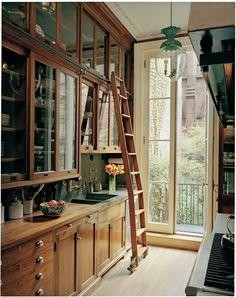 Tudor style kitchen. Love the ladder! Visit www.fgliving.com for more inspiration.