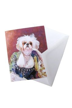 """Printed note card with a blank inside. Comes with a plain envelope and wrapped in a plastic sleeve.    Measures: 5.47"""" x 4.25"""" folded   Shih-Tzu Note Card Home & Gifts - Gifts - Stationery & Office Texas"""