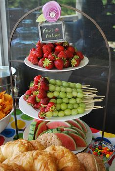 FRUIT FOR BRIDAL SHOWERS | fruit kabobs displayed on 2 tier stands | bridal showers