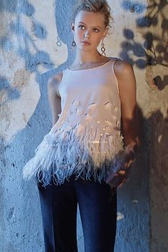 So pretty. Feathered Fringe Blouse