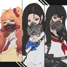 Cyberpunk Schoolgirls Shiina(Red) Han(Blue) Sakai(Scarlett) What girl do you like? Character Design Inspiration, Character Design, Cyberpunk Character, Cyberpunk Art, Art, Character, Anime, Anime Drawings, Cyberpunk Anime