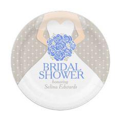 Bridal Shower Wedding Dress Custom Paper Plates 7 Inch Plate