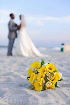 Wedding portrait, flowers in focus - Ocean Club, Grande Dunes, Myrtle Beach by Ryan Smith Photography, via Flickr