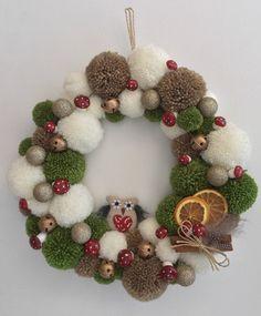 PomPom Christmas Wreath   Etsy Christmas Pom Pom Crafts, Crochet Christmas Wreath, Xmas Wreaths, Xmas Crafts, Christmas Diy, Christmas Ornaments, Spring Crafts, Diy Crafts, Handmade Christmas Gifts From Children