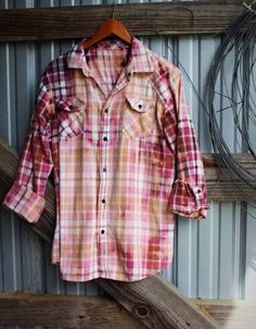 Distressed vintage flannel in pink from Mad Mary's Boutique