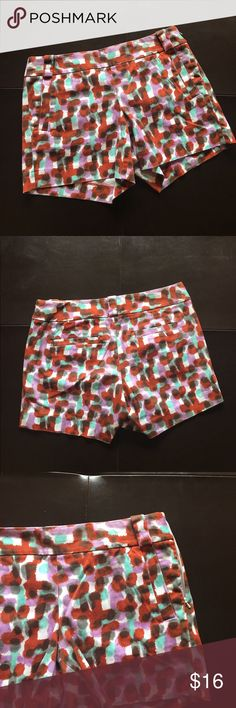 """J. Crew Paint Splatter Shorts Colorful shorts have diagonal front pockets, side zipper, belt loops and two back pockets. Measure 16"""" inches across the top, 14""""inches long with a 4.5""""inch inseam. 97% cotton 3% Spandex J. Crew Shorts Bermudas"""