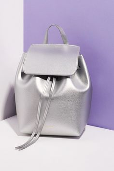 Exclusive capsule collection for Opening Ceremony all done in silver Saffiano leather// Mansur Gavriel for Opening Ceremony Metallic Backpack