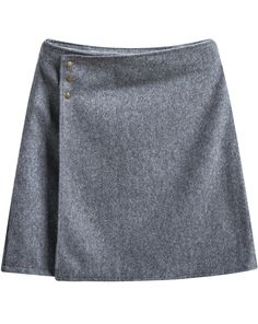 Grey Buttons Bodycon Skirt - Sheinside.com
