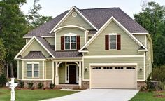Savvy Homes T Americana Style Home Beautiful Sage Green Exterior Hardi Plank Heathered Moss Siding Tamericanahomeplan Savvyhomes