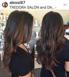 Warm balayage highlights, caramel highlights, hair color, painted hair, long hair, curls