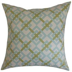 Fimbrethil Turquoise and Green 18 x 18 Geometric Throw Pillow