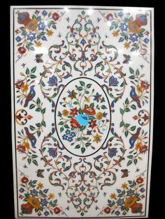An Italian Pietra Dura Marble Inlaid Table Top Mother Of Pearl