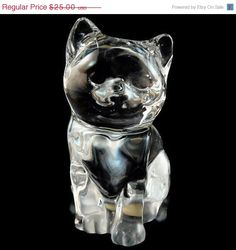 50% OFF SALE Vintage 24 Percent Lead Crystal Cat / Figurine / Paperweight from Princess House - SOLD