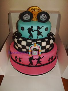 1950's theme 3 tier oval birthday cake - 60th Birthday with a 50's theme made this 3 tier 1950's theme cake, using oval shaped tiers