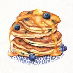 Blueberry pancakes breakfast food illustration