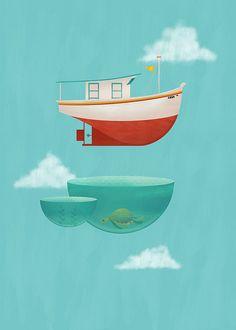 Floating Boat. ER David.