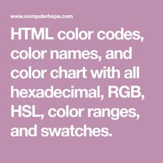 HTML color codes and names Color Codes, Ranges, Swatch, Coding, Chart, Design, Range, Programming