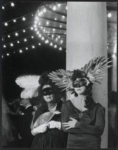 Marie-Laure de Noailles and Leonor Fini, Le Bal desTêtesau Pré Catelan à Paris, photo by Brassai, 1940's.