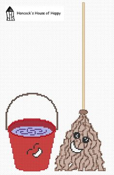 I Couldn't Come Up With a Clever Title for this Free Kawaii House Work Mop and Bucket Cross Stitch Design Free Cross Stitch Charts, Cute Cross Stitch, Modern Cross Stitch Patterns, Cross Stitch Designs, Blackwork Patterns, Cross Stitch Kitchen, Cross Stitching, Kawaii, Embroidery