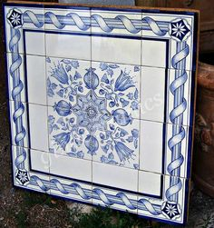 Delft style expertly hand painted blue and by CountryVillaCeramics  24x24 $544 etsy.com