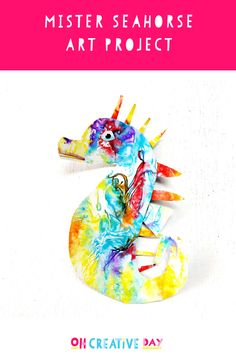 Team a reading of Eric Carle's Mister Seahorse with this art project that involves a simple process that produces gorgeous results. Creative Activities For Kids, Fun Crafts For Kids, Diy For Kids, Family Crafts, Book Activities, Summer Camp Crafts, Camping Crafts, Summer Diy, Seahorse Crafts