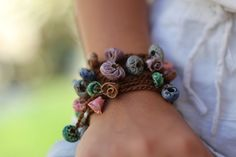 Bohemian style Crocheted ceramic beads bracelet Ceramic Cuff Long necklace Unique design of Ceramic bracelet