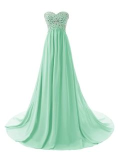 []  Dressystar Strapless Sweetheart Bridesmaid Prom Dresses Chiffon Evening Gowns Size 16 Mint []---