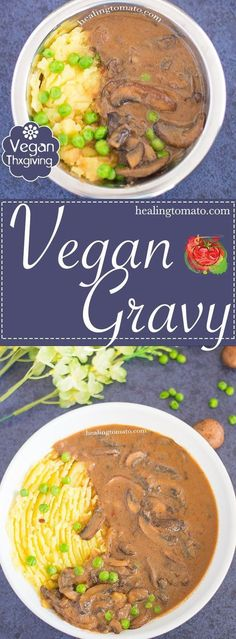 A very quick and easy vegan gravy made with mushrooms. This brown mushroom gravy is the perfect Thanksgiving gravy that even meat eaters can't resist | #vegan #thanksgiving #sides #gravy Easy gravy recipes #veganthanksgiving #vegetarianthanksgiving #comfortfood #healthy #coconut Family meals