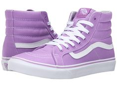 Designer Clothes, Shoes & Bags for Women White High Top Sneakers, Purple Sneakers, Vans Sneakers, Vans Shoes, Sneakers Fashion, Converse, Vans Sk8 Hi Slim, Sk8 Hi Vans, White Leather Shoes