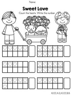 Sweet Love >> Counting to 10 with ten frames >> Part of the Valentine's Day Kindergarten Math Worksheets