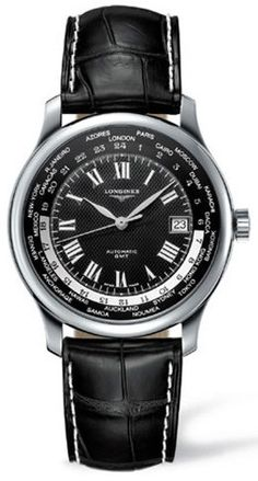 Longines Watch Master Collection Mens #bezel-fixed #bracelet-strap-alligator #brand-longines #buckle-type-deployment #case-depth-11-5mm #case-material-steel #case-width-38-5mm #date-yes #delivery-timescale-1-2-weeks #dial-colour-black #gender-mens #gmt-ye