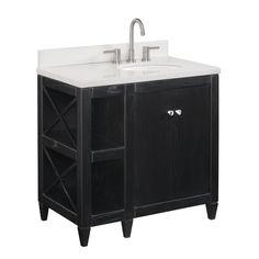 Rutherford 36-inch Freestanding Undermount Single Integrated Sink Bathroom Vanity with Ceramic Top,  Black Oak