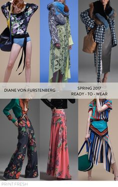 Spring 2017 Ready-to-wear Runway Print & Pattern Trends- Diane Von Furstenberg Images: vogue.com bold stripes, bold graphic florals, spring plaid, embroidery inspired floral dress