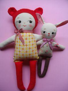 BABY BEAR PLUSHIE - Kawaii handmade vintage-inspired rag-doll plush toy baby toy. $38,00, via Etsy.