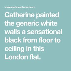 Catherine painted the generic white walls a sensational black from floor to ceiling in this London flat.