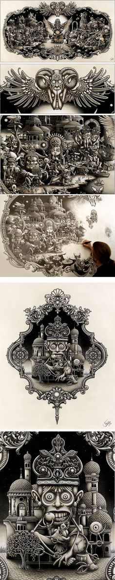We are admiring one of many magical masterpieces that have been created by Joe Fenton and was drawn upon a very impressive 5 foot by 2.5 metre wide piece of paper. The New York based artist is able to display an astonishing amount of detail by using these three key materials, graphite, ink and acrylic.