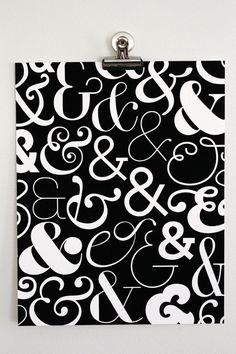 "Ampersand Art Print - Black & White Ampersand Pattern (11"" x 14""). $18.00, via Etsy."