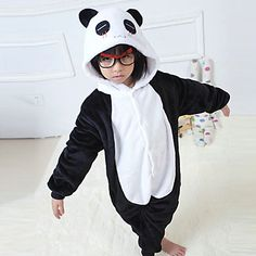 Kigurumi Pajamas Panda Leotard/Onesie Halloween Animal Sleepwear Black/White Patchwork Flannel Kigurumi Kid Halloween