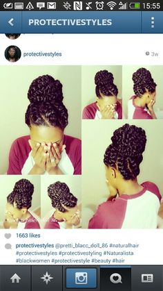 If you have afro-textured hair, it is essential to take extra good care of them. Instead of traditional braids, try flat twist hairstyles! Compared to braids, twists are not just easier to make, but. Flat Twist Hairstyles, Cute Hairstyles, Braided Hairstyles, Black Hairstyles, Protective Hairstyles, Protective Styles, Pelo Natural, Natural Hair Tips, Natural Hair Styles