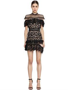 Love this by SELF-PORTRAIT Yoke Frill Star Mini Dress, Black, Black Pattern - $285 (40%Off)
