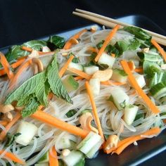 "Vietnamese Rice-Noodle Salad | ""This is a nice light and healthy meal, and very delicious. I substituted kale for the cabbage (for a little more nutrition) and dried thai peppers for the jalapenos. I'll be making this again."""