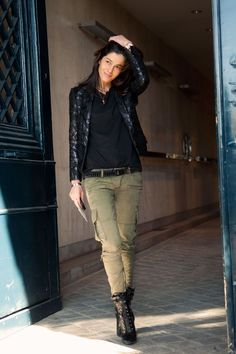 Green pants and ask the black! A statement necklace or scarf would look good too and either my black slip ons or some casual heels