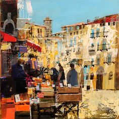 Exploring Sorrento by Mike Bernard Dover, UK) Venice Painting, City Painting, Mike Bernard, Race Book, Abstract City, City Scapes, Building Art, Art Portfolio, Rue