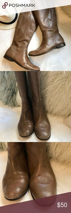 """Corso Como Leather Boots ❤️ the color of these boots. Beautiful taupe that is hard to find. Zip up style with 1"""" heel. Corso Como Shoes"""