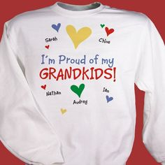 Everyone will know how proud you are of your family when you wear this cute sweatshirt! Available in 3 colors, it features any title (grandkids, kids, great-grandkids) and up to 30 loved one's names. Valentines Day Shirts, Happy Valentines Day, Diy Shirt, Tee Shirts, Great Grandma Gifts, Circuit Projects, Cute Sweatshirts, Proud Of Me, Grandkids