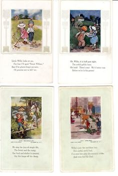 Lot of 3 Early Willie Postcards    Artist Eliza Curtis