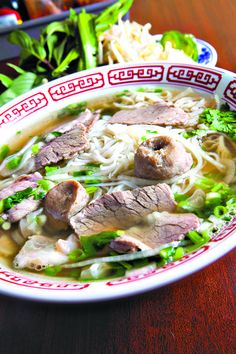 Pho with well-done beef flank, tripe, tendon and beef balls at Pho My Lien